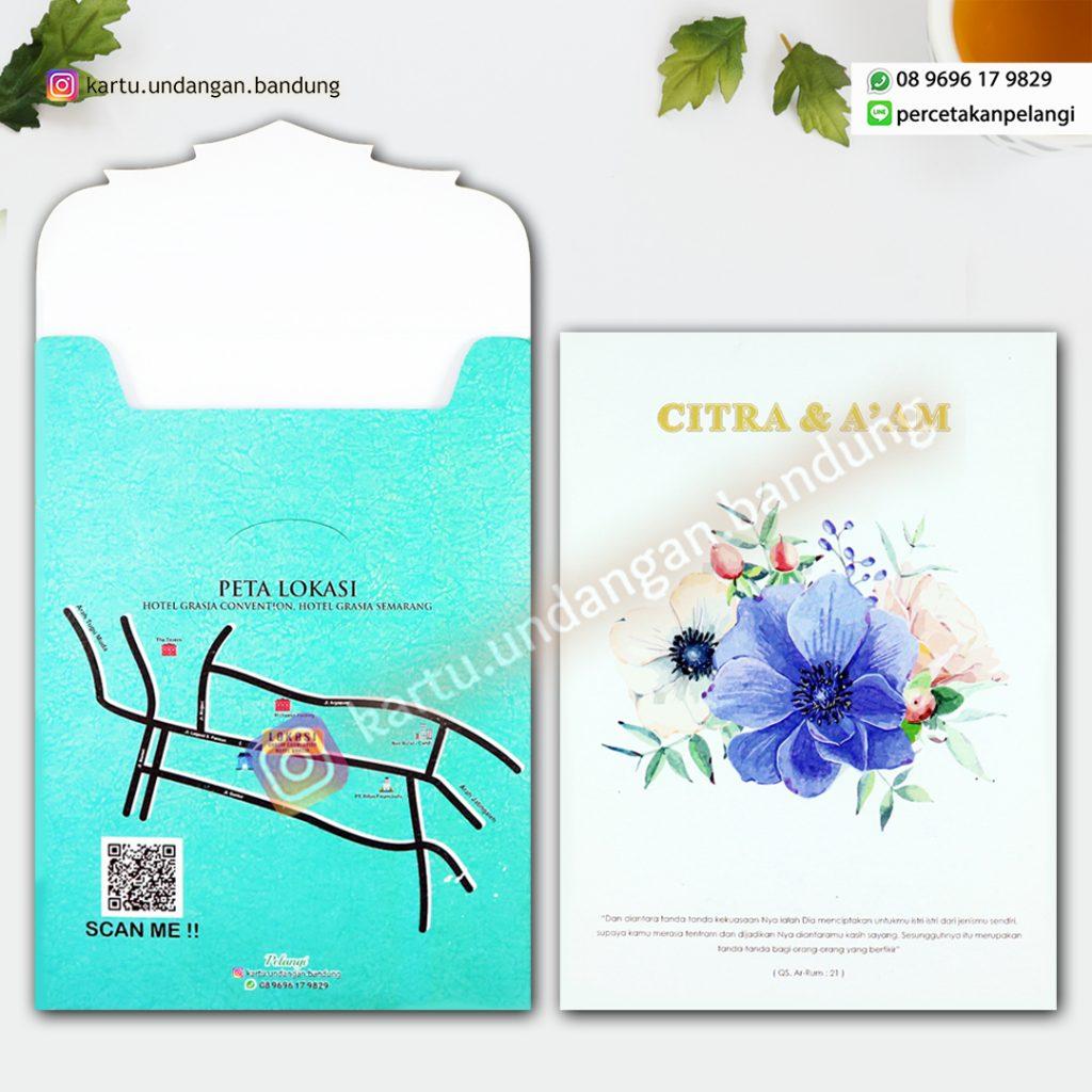 Kartu Undangan Design Bunga Watercolour